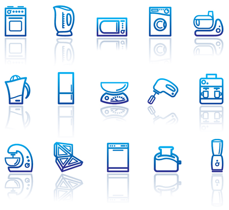 Blue icons of kitchen home appliances illustration.