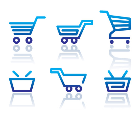 Simple icons of shopping carts and baskets
