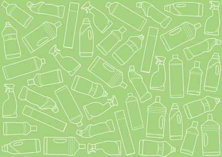 Seamless background with bottles of cleaners Illustration