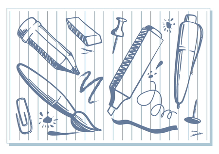 Sketches of a stationery tools such as pen and marker on a sheet of paper