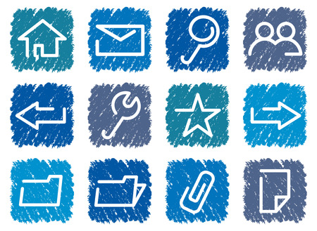 Base computer icons in blue square. Vector illustration. Иллюстрация
