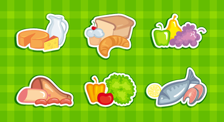 Symbols of vegetables, fruit, meat and dairy products, breads and fishes