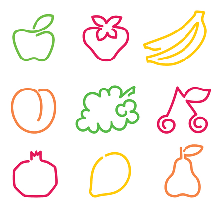 Simple images of outlines of fruit Stock Illustratie