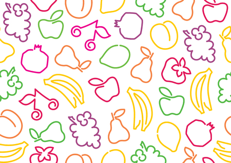 Seamless background from outlines of fruit
