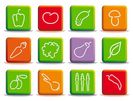 Shining buttons with the image of vegetables illustration.