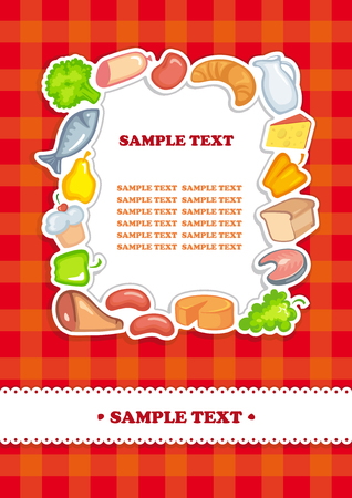 Background with images of food and a place for text placing Illustration