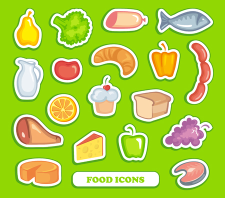 Food icons on stickers