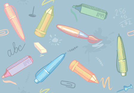 Seamless background on a school theme with images of a stationery and pencis Vectores