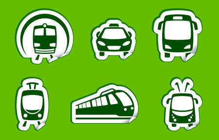 Stickers with symbols of types of a municipal transportation Vettoriali
