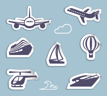 Symbols of sea and air transport on stickers isolated on blue background.