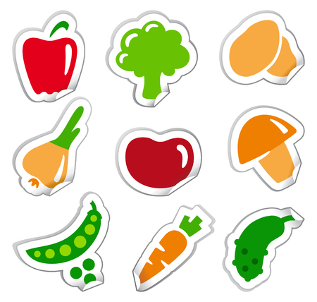 Simple images of vegetables on stickers