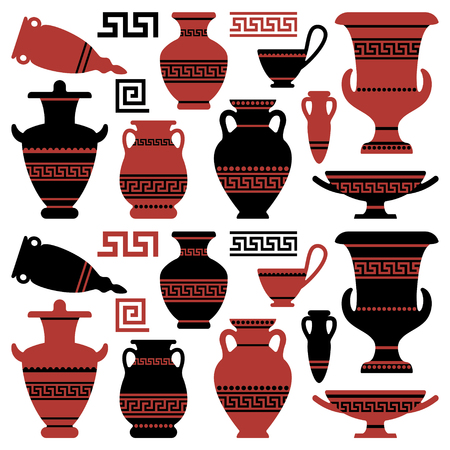 Amphoras with an antique Greek ornament