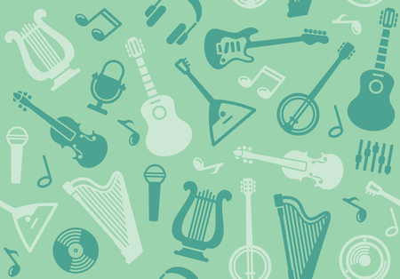 Seamless background with string musical instruments