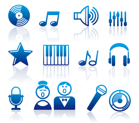 Set of simple symbols on a musical theme