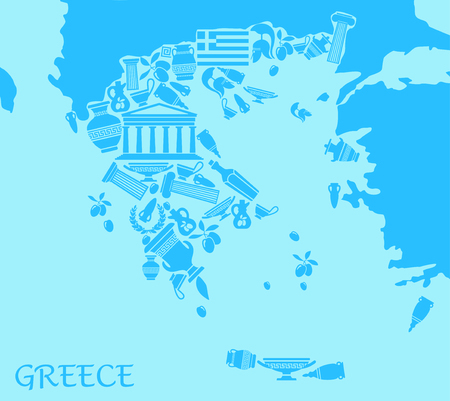 Greece map in the form of traditional symbols illustration. Çizim