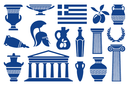 Traditional symbols of Greece. Monochrome icons