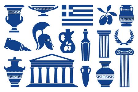 Traditional symbols of Greece. Monochrome icons