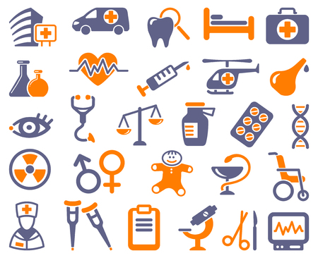 Icons of pharmacology and medicine Vector illustration. Ilustracja