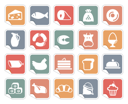 Icons of various kinds of food on stickers Illustration