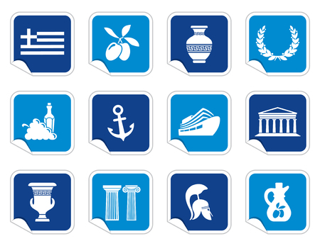Greece icons on stickers Vettoriali