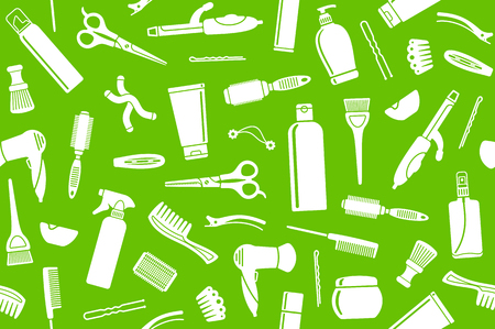 Seamless background from hairdresser's accessories Vectores
