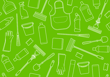 Cleaning equipment seamless pattern background Illustration