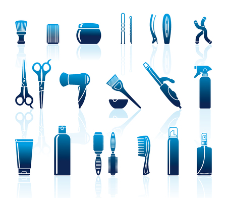 Set Of Hairdressing Accessories and means for care of hair
