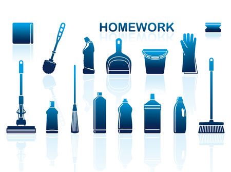 Icons of accessories and means for cleaning Illustration