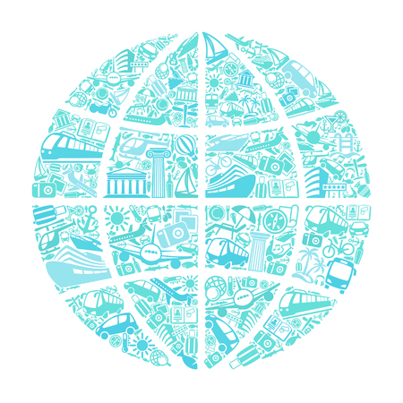 Symbols of travel and tourism in the form of the globe