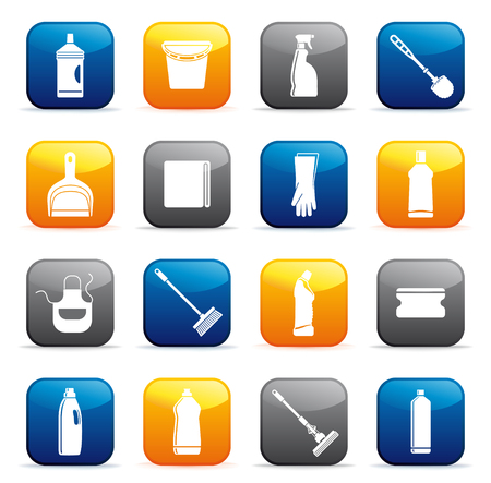 Cleaning equipment button icons. Stock Illustratie
