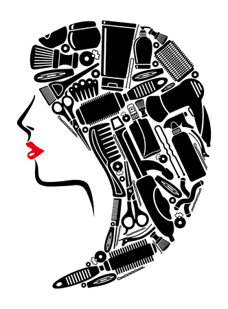 Female head with hair in the form of hairdresser's elements. Stock Illustratie