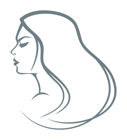 Sketch of a head of the girl with long hair