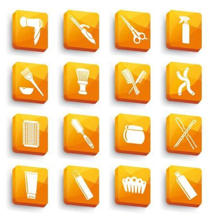 Hairdresser equipments orange button icons.