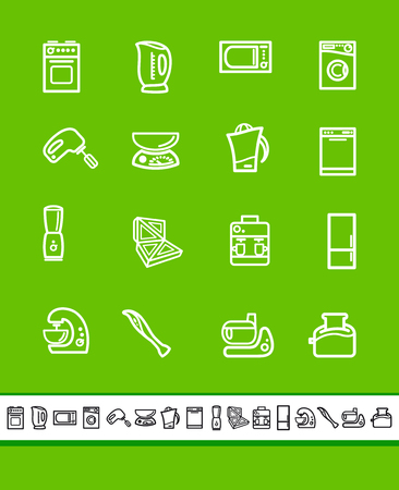 Simple icons of kitchen home appliances. Illustration