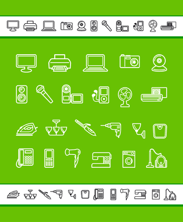 Simple icons of home appliances.