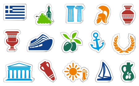 Icons with traditional Greek symbols on stickers Illustration