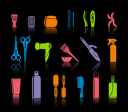 Conjunto de accesorios de peluquería y medios para el cuidado del cabello Foto de archivo - 97212582