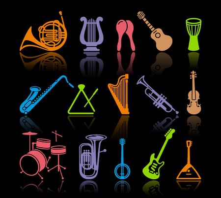 Silhouettes de divers instruments de musique Banque d'images - 97212675