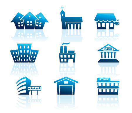 Icons of various types of buildings 일러스트