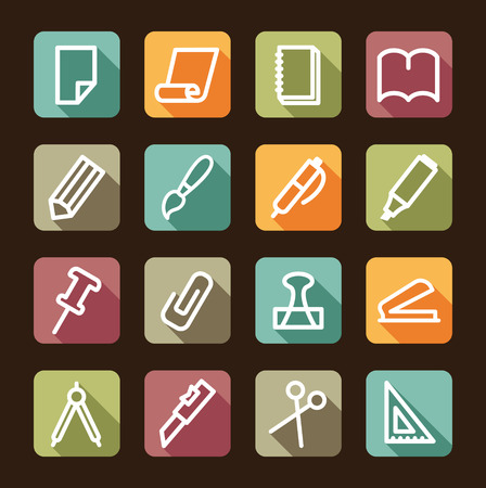 Stationery and office icons on colour buttons