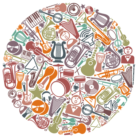 Symbols of music and musical instruments in the form of a circle Illustration