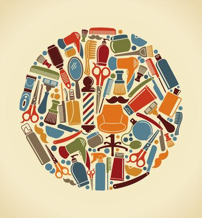Colección de herramientas de barbería en diseño circular. Ilustración de vector