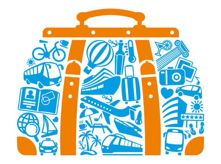 Tourism icons in the form of a road bag