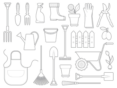 Garden tools, the equipment and symbols