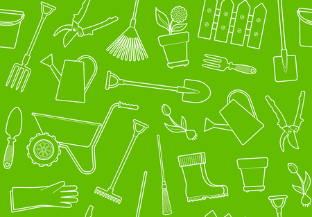 Seamless background of garden tools, equipment and symbols