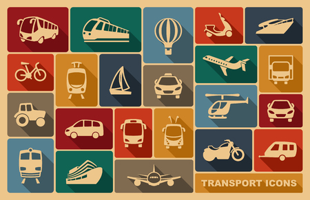Icons of various means of transportation Vectores
