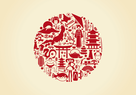 Traditional symbols of the Japanese architecture and culture in the form of a flag Stock Illustratie