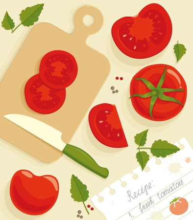 Composition from the fresh whole and cut tomatoes. Vector seamless background.