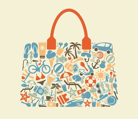 Icons on a theme of beach rest in the form of a bag. Vector image isolated on light background. Illustration