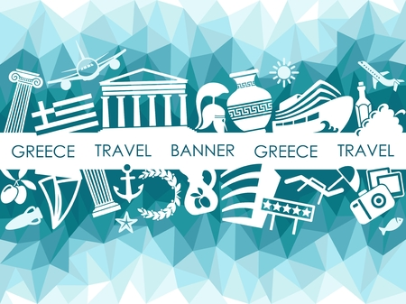 Banner on a theme of travel to Greece. Vector image